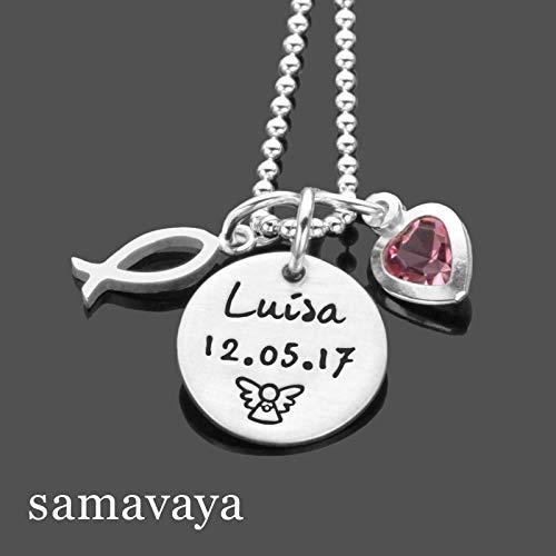 Taufkette mit Namensgravur GETAUFT FISCH 925 Silber Kette mit Gravur Kinderschmuck Namenskette