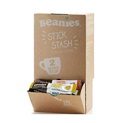 100 Sticks of Beanies Mixed Flavour Instant Coffee. Stick Stash Box 41nOeF 2BbAvL