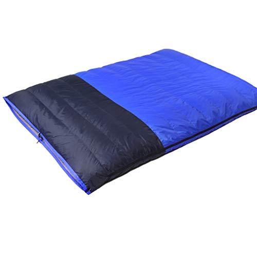Grande sacco a pelo doppio in piuma d'oca caldo, 2 cuscini e sacco a compressione, sacco a pelo leggero for buste da 2 persone, for campeggio da 3 stagioni (color : blue)