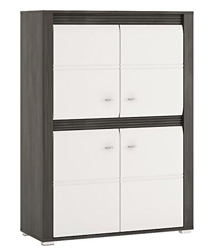 Wohnzimmer komplett 1662021 Wohnwand 5-teilig schwarzkiefer / weiß Hochglanz - 3
