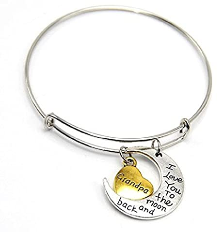 Bracelet With Heart Charms And Moon I Love You To The Moon And Back Grandpa (Grandpas Ragazza)
