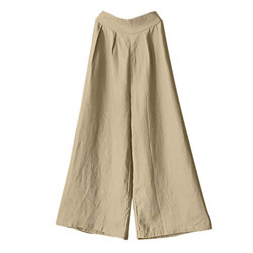 amenhose aus Baumwollleinen mit hohem Bund,Zolimx Damen High-Taille Baumwolle Flachs Slack-Größe Casual Breites Beine Hosen ()