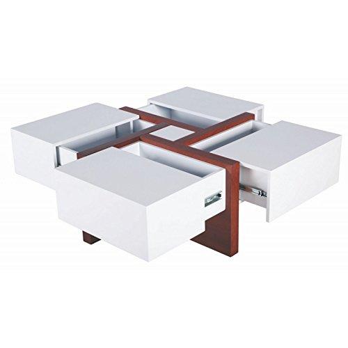 ACTUAL DIFFUSION 3BD-488BLG Table Basse Carrée Bois 100 x 100 x 35 cm