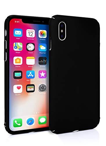 MyGadget Slim Fit Hardcase Hülle für Apple iPhone XS X - Schutzhülle federleicht & Ultra dünn - Plastik Case Hard Cover Schutz Kratzfest in Matt Schwarz Slim Fit Hard Case