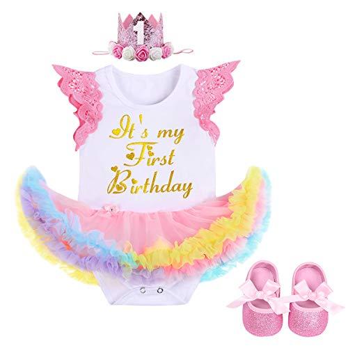 FYMNSI Es ist Mein Erster Geburtstag Baby Mädchen 1 Jahr Outfit Regenbogen Tüll Tütü Prinzessin Body Kleid Strampler + Krone Stirnband + Schuhe 3tlg Set für Geburtstagsparty Fotoshooting Rosa 6-12M (Tutu-outfit Mein Halloween Erstes)