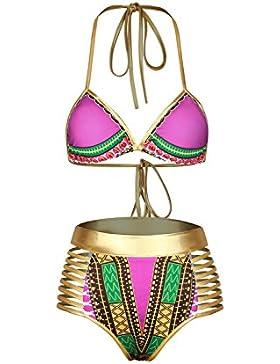 Vacanza a Halter Triangolo bendaggio Top scollato 2 pezzi donne Bikini Costumi da bagno