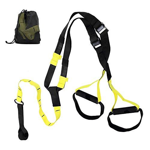 ESDDI Schlingentrainer Suspensiontrainer Schlingen Set für Krafttraining mit Netztragetasche Zuhause oder Draußen Gelb/ schwarz