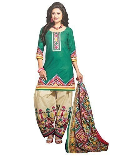 MAHAVIR FASHION Women\'s Faux Cotton Printed Salwar Kameez Patiala Suit Dress Material.