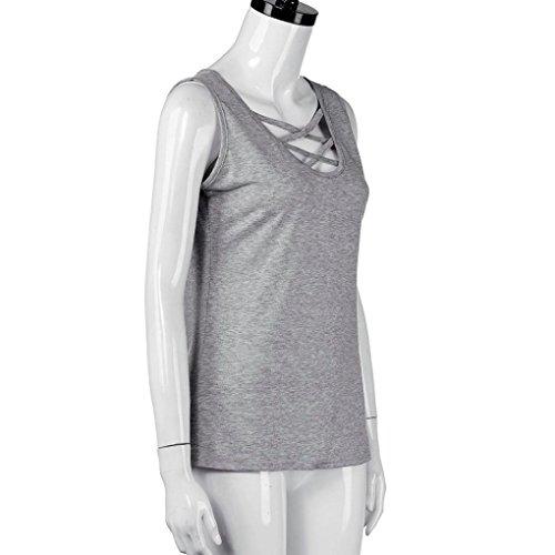 T-shirt Tee Tops,Tonwalk Femmes Débardeur sans manches V Neck Veste Blouse Gris