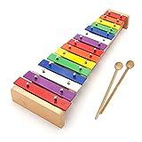 Xilofono in legno per bambini con 15 chiavi in metallo, strumento musicale giocattolo per bambini, ottimo regalo con martello in legno