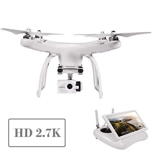 UPair ONE 2,7K Kamera Drohne, Drohne mit GPS und Kamera, Live-Videokamera Quadcopter, FPV live Übertragung, 2,4GHz Fernsteuerung, Auto-Return Funktion, Follow Me Modus, Headless Modus
