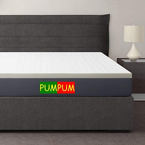 PumPum 75x35x2 Inch Memory Foam Mattress Topper with Cover-Single Mattress, White Image 2