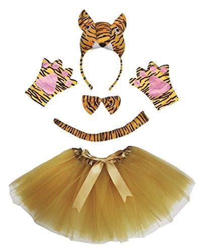 Petitebelle 3D-Stirnband Bowtie Schwanz Handschuhe Tutu 5pc Mädchen-Kostüm Einheitsgröße 3D-Tiger (Kostüm Für Mädchen Tiger)