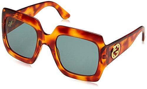 Gucci Damen GG0053S 002 Sonnenbrille, Braun (Avana/Green), 54