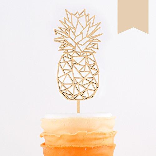 KLEINLAUT 3D-Schriftzug Caketopper Origami Ananas in Größe: 8,0 x 22 cm - Dekobuchstaben - 32 Farben zur Wahl - Pastell Braun -