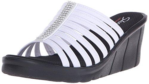 Skechers Mocassin Été Léger Semelle Légèrement Compensée Sandales Mules Chaussure white