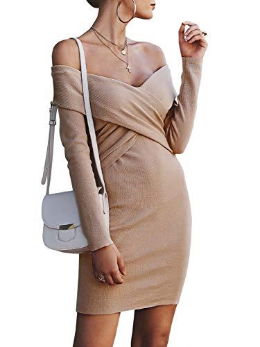 Melegant Damen Herbst Kurz Kleid Elegant Off Shoulder Criss Cross Vintage Langarm Eng Strickkleider Winter Apricot