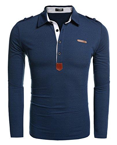 COOFANDY Herren Poloshirt elegante Langarmshirts regular fit Langarmpolo für Männer,Dunkelgrün,S