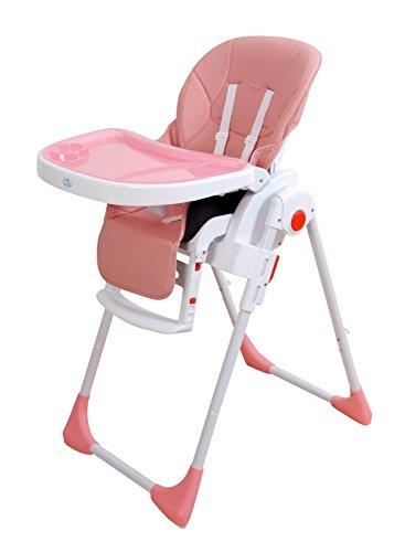 Trona para bebé regulable, doble bandeja,ecopiel rosa, silla bebé. Trona para niños.