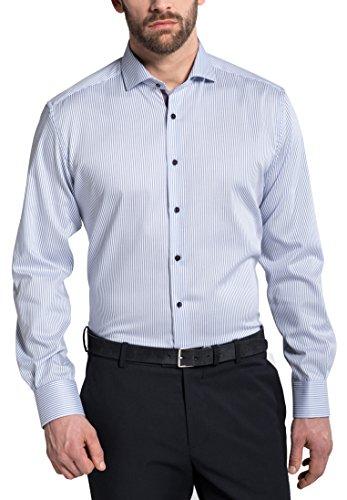 ETERNA long sleeve Shirt MODERN FIT Herringbone striped Blu