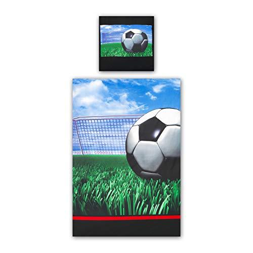 2 tlg. Renforce Baumwolle Kinderbettwäsche 135x200 cm Fußball Play Off