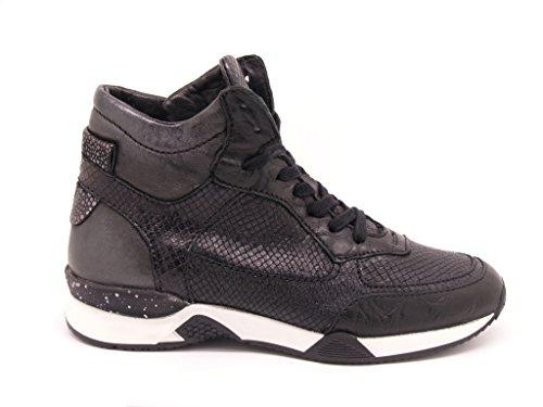 Mjus sneakers alta donna in pelle nera effetto rettile, stringata chiusura zip e suola in gomma alta cm. 2,5 (36)