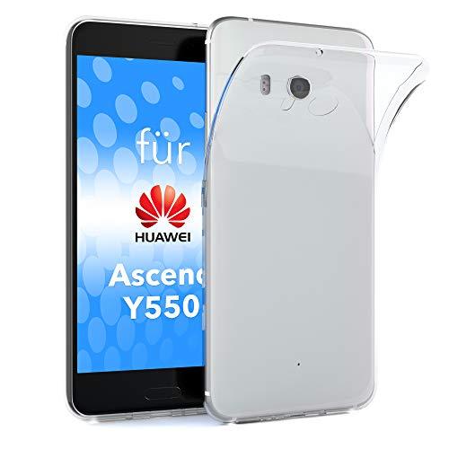 EAZY CASE Huawei Ascend Y550 Schutzhülle Silikon, Ultra dünn, Slimcover, Handyhülle, Silikonhülle, Backcover, Durchsichtig, Klar Transparent