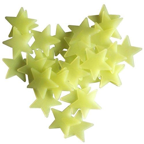 25 Pièces 6.5cm Étoiles Phosphorescente Fluorescentes Autocollants Lumineux Déco pour Chambre D'enfant Vert
