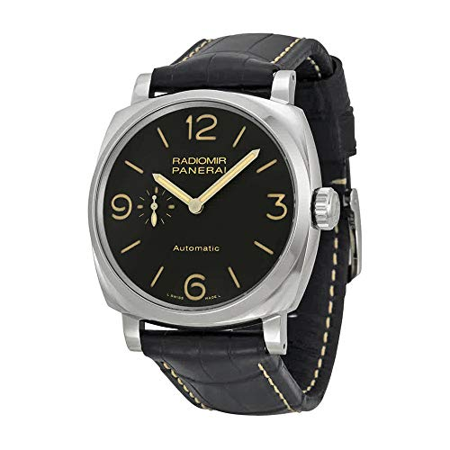 PANERAI MEN'S RADIOMIR 1940 45MM BLACK LEATHER BAND AUTOMATIC WATCH...