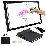 Yaufey LED Artist Pochoir de tatouage Dessin Tracing Table Affichage Boîte à lumière Pad, noir, A3 USB(10 Levels)