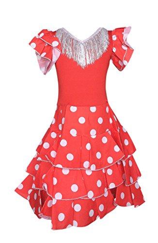 La Senorita Spanische Flamenco Kleid Niño Deluxe / Kostüm - für Mädchen / Kinder - Rot / Weiß (Größe 140/146 - Länge 95 cm- 9-10 ()