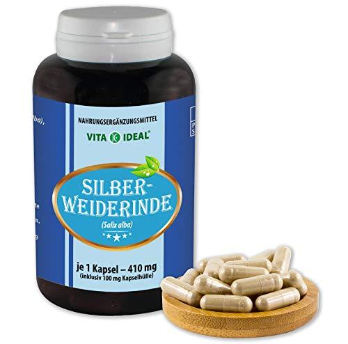 Rinde Kapseln (VITA IDEAL ® Silber-Weide-Rinde (Salix alba) 180 Kapseln je 410mg, aus rein natürlichen Kräutern, ohne Zusatzstoffe)