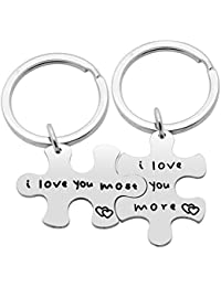 2pcs Couple Key Chain Ring Set Puzzles - Her Weirdo His Crazy - Valentine Christmas Gift Stainless Steel