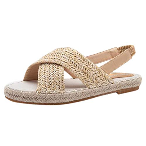 Frauen Sandalen für Frauen liusdh,damen schuheWomens Fashion Flats Straw Hemp Rope Elastic Band Casual Shoes Roman Sandals(KH,43) -