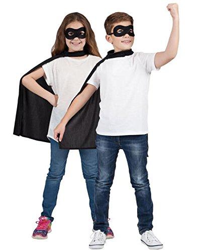 Schwarz Kinder Super Hero Umhang & Maske für Kinder Superheld Kostüm Verkleidung ()