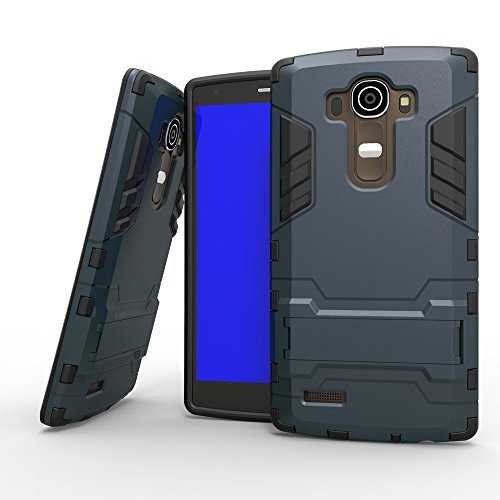 LG G4 Case, 2 In 1 Neue Rüstung Tough Style Hybrid Dual Layer Rüstung Defender PC Hartschalen mit Ständer Shockproof Fall Für LG G4 ( Color : Blue Black , Size : LG G4 ) Blue Black