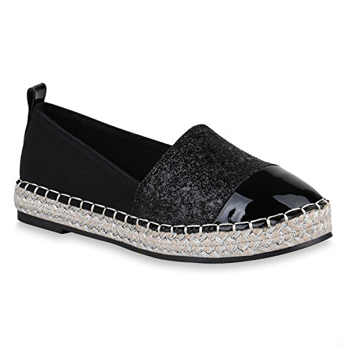 Damen Slippers Bast Espadrilles Lack Glitzer Schuhe Slip Ons 156721 Schwarz Brooklyn 36 Flandell (Schwarze Lack-espadrilles)