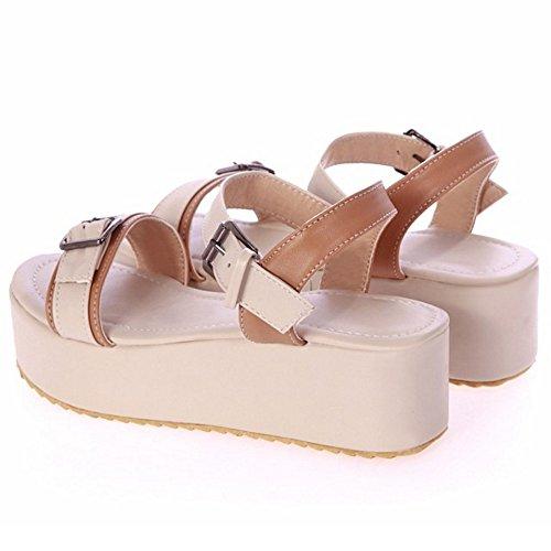 TAOFFEN Femmes Mode Bout Ouvert Sandales Compensees Plateforme Slingback Ete Chaussures 788 Abricot