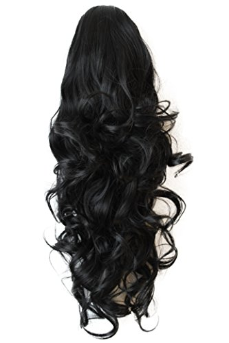 PRETTYSHOP Haarteil Hair Piece Zopf Pferdeschwanz ca 60cm Hitzebeständig wie Echthaar div. Farben (schwarz 1 H8)