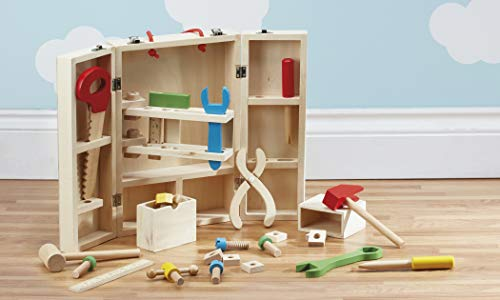 My Play Children's DIY Carpenters Toy Building & Learning Playset, 26 Piece Portable Kit, Multicoloured Wooden Tools and Carry Case (26 Piece Set) - Ages 3+
