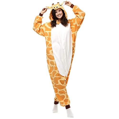 DUKUNKUN Erwachsene Giraffe Pyjamas Kostüm Gelb Cosplay Für Tier Nachtwäsche Cartoon Halloween Festival/Urlaub,S