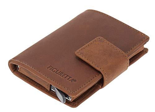 """Figuretta Premium RFID Geldbörse braun """"SALISBURRY"""" vintage Look - Praktische Minibörse mit Aluminium Kreditkartenetui - Optimaler Schutz für Ihre Kreditkarten - Ideales Geschenk"""