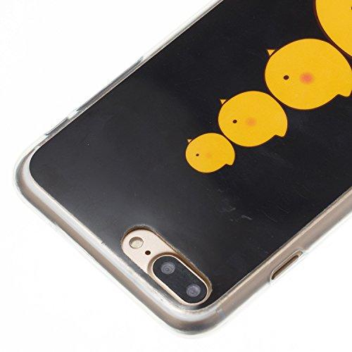 JAWSEU Coque pour iPhone 7 Plus Tpu,iPhone 8 Plus Silicone Etui Ultra Slim,iPhone 7 Plus/8 Plus 5.5 Soft Cover Proective Case,Créatif Neuf Design Funny Mignon Lovely Coloré Cartoon Animal Pattern Femm Quatre poussins