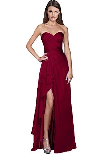 Victory Bridal Damen Glamour Abendkleider Lang Chiffon Brautjungfernkleider Prom/Ballkleider Partykleider Neu-38 - Rote Lang Prom Kleid