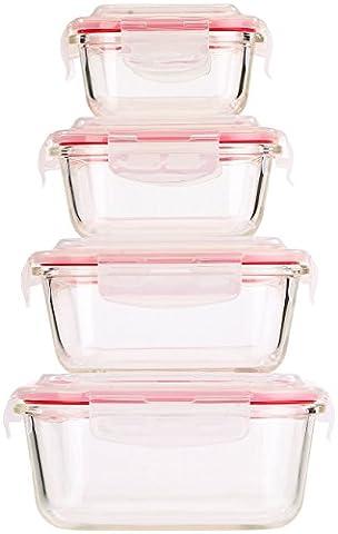 Rosenstein & Söhne Glasdosen: 5in1 Glas XL-Frischhaltedosen-Set, 8-tlg, Clip-Deckel, -40 bis +400 C° (Auflaufform)