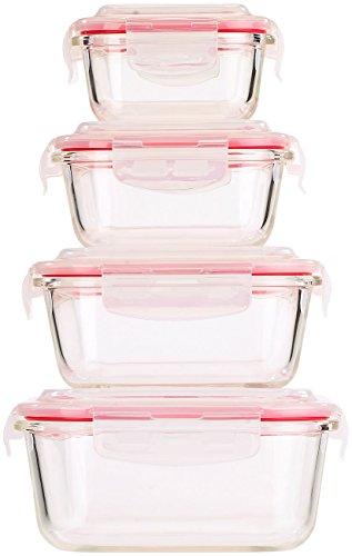 Rosenstein & Söhne Glasbehälter: 5in1 Glas XL-Frischhaltedosen-Set, 8-tlg, Clip-Deckel, -40 bis +400 C° (Glasschalen) (Glas Aufbewahrungsbox)