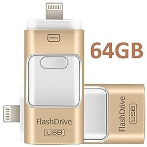 3 in 1 - Chiavetta USB, drive di archiviazione esterna con connettore Lightning, compatibile con PC, sistemi iOS e Android, iPhone (Gold 64GB)