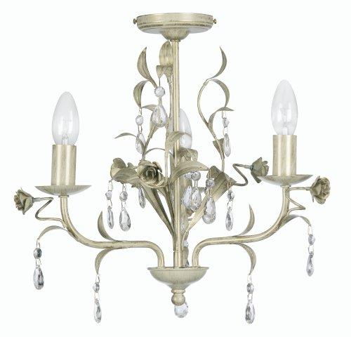 Oaks Lighting Catania Kronleuchter 3-flammig mit Glastropfen Creme/Gold