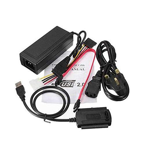 CHOULI USB 2.0 zu IDE SATA 2.5 3.5 Festplattenkonverter-Kabelsatz mit Netzteil US Black - Pata-laufwerke
