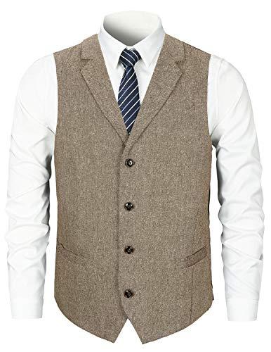 STTLZMC Herren Weste Anzugweste Wolle Tweed Weste Kragenweste 2 Taschen 4 Knöpfe,Braun 1,XXL